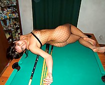 Curvaceous sexy fishnet girl
